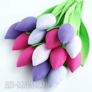 kwiaty dekoracje bawełniane, miękkie, niewiędnące tulipany