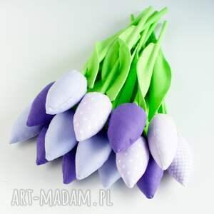 fioletowe dekoracje tulipany z-materiału bukiet 14 sztuk