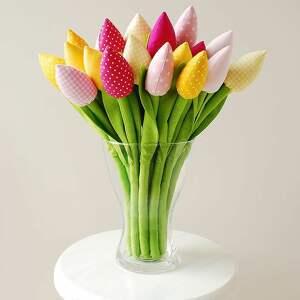 dekoracje tulipany-z-materiału tulipany - bukiet 15 bawełnianych