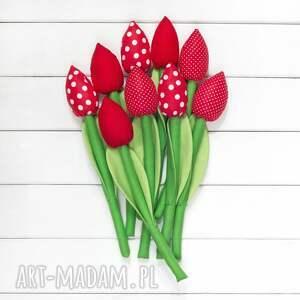 frapujące dekoracje bukiet tulipany czerwony bawełniany
