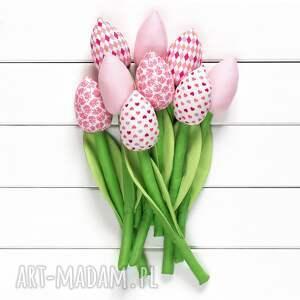 hand made dekoracje tulipany jasno różowy bawełniany