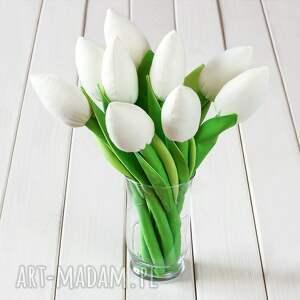 dekoracje tulipany kremowy bawełniany bukiet