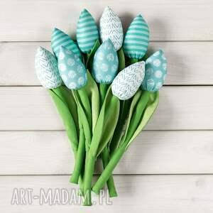 dekoracje tulipany miętowy bawełniany bukiet