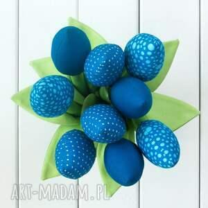 tulipany dekoracje niebieski bawełniany