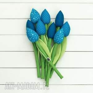 nietuzinkowe dekoracje niebieskie kwiaty tulipany niebieski bawełniany