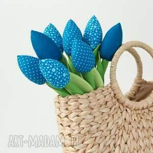 nietuzinkowe dekoracje tulipany niebieski bawełniany