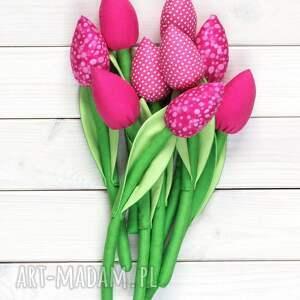 handmade dekoracje bawełniane tulipany różowy bawełniany bukiet