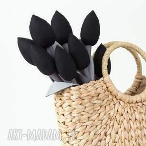 tulipany dekoracje szaro czarny bawełniany