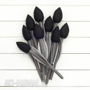 szare dekoracje czarne kwiaty tulipany szaro czarny bawełniany
