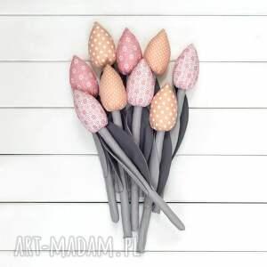 handmade dekoracje kwiaty tulipany szaro pastelowo różowy