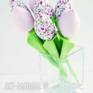 Kuferek Malucha Tulipany szyte bukiet 7 szt kwiaty