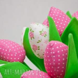 dekoracje tulipany z materiału bukiet