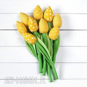 atrakcyjne dekoracje tulipany żółty bawełniany