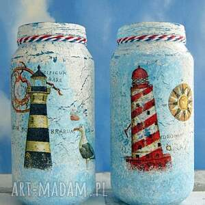niebieskie dekoracje marinistyczny w oczekiwaniu na statek. Słoiczki