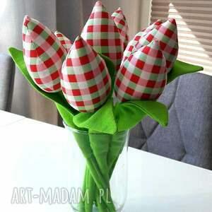 różowe dekoracje tulipany woisenne 8 szt