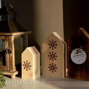pomysł na prezent święta 3 x domki drewniane