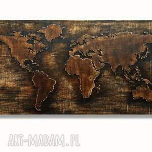 dekoracje mapa 79 x 41 cm - drewniana świata