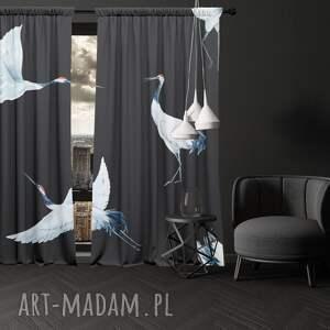 dekoracje: zasłony z nadrukiem 2 szt birds wysoka jakość bawełniane