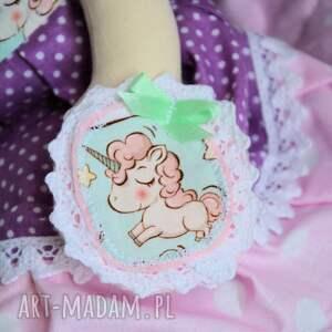 fioletowe dekoracje zestaw: lalka 50 cm jednorożec
