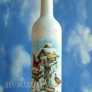 na święta prezent zima. Dekoracyjna szklana butelka