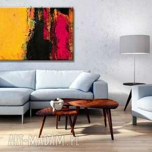 intrygujące dekoracje kolorowa dekoracja żółto różowy ambaras - obraz