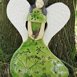 handmade dla dziecka chrzest ceramiczny anioł na ścianę