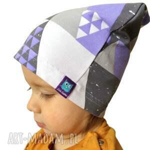 białe dla dziecka dresówka czapka mozaika, 2
