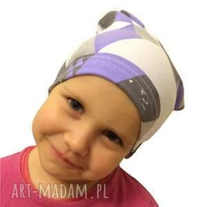czapka dla dziecka fioletowe dresówka mozaika, 2