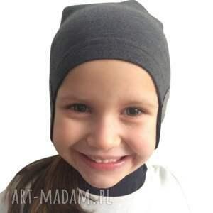 ręcznie robione dla dziecka czapka pilotka grafitowa