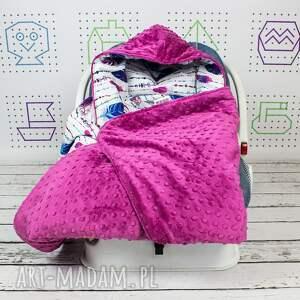 kocyk dla dziecka fioletowe duży do fotelika