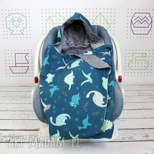 niebieskie dla dziecka dinozaury duży kocyk do fotelika