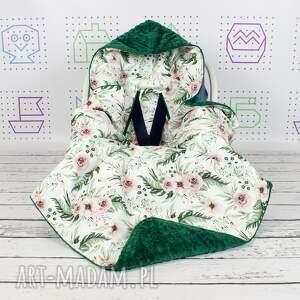 ręcznie robione dla dziecka kwiaty duży kocyk do fotelika