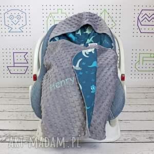 ręcznie zrobione dla dziecka nosidło duży kocyk do fotelika