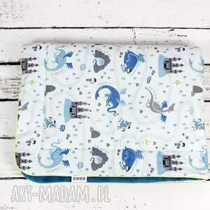 niebieskie dla dziecka minky kocyk 75x100 dragon