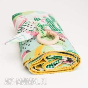 turkusowe dla dziecka bawełna kocyk wafelek gratis gryzaczek