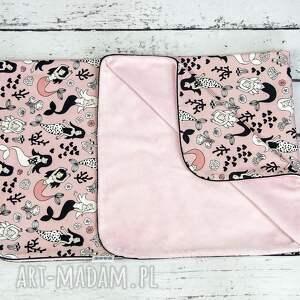 różowe dla dziecka minky kocyk 75x100 syreny