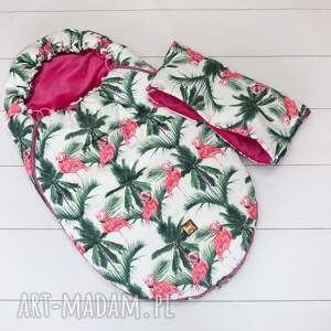 oryginalne dla dziecka mufka do wózka flamingi