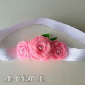 handmade dla dziecka opaska niemowlęca - różyczki