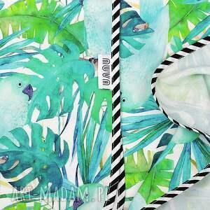 otulacz dla dziecka bambusowy papugi zielone
