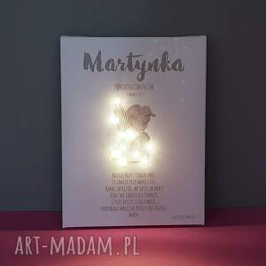 ręcznie robione dla dziecka aniołek pamiątka chrztu świecący obraz led