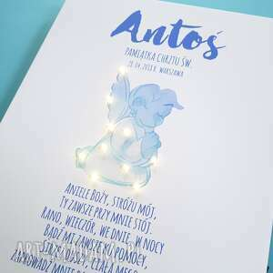 niebieskie dla dziecka chrzciny pamiątka chrztu obraz led modlitwa