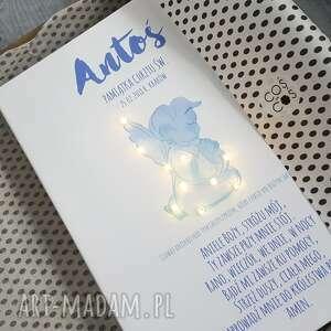 niebieskie dla dziecka chrzest pamiątka chrztu świecący obraz led