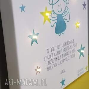 eleganckie dla dziecka modlitwa pamiątka chrztu świecący obraz led