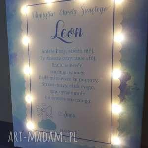 aniele dla dziecka pamiątka chrztu świecący obraz led