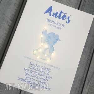 obraz dla dziecka pamiątka chrztu świecący led