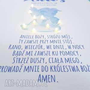 COSnieCOS pamiątka chrztu obraz led modlitwa aniołek dla chłopczyka prezent na chrzest