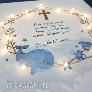 nietypowe dla dziecka pamiątka chrztu obraz led wieloryb