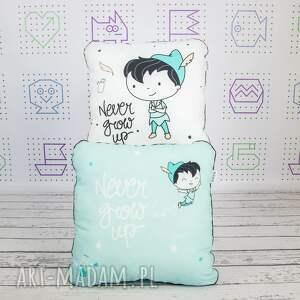 poduszka dla dziecka turkusowe never grow up 46x46