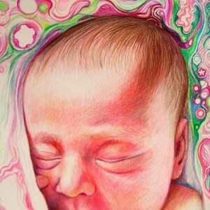 ręcznie robione dla dziecka chrzest wyjątkowy portret noworodka/niemowlaka