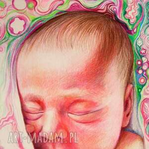 ręczne wykonanie dla dziecka chrzest portret bobasa